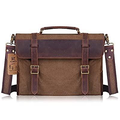 Kattee Vintage Canvas Leather Messenger traveling Briefcase shoulder laptop Bag