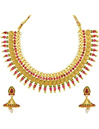 Adiva South Indian Temple Rani Green Copper Alloy Jewellery Set With Necklace And Earring For Women