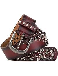 styleBREAKER Vintage Gürtel mit Nieten und Strass im 2-Tone Design, kürzbar, Damen 03010057