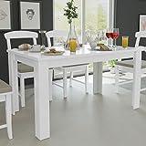 Tavolo da Pranzo Moderno di Design Rotondo Fisso in ABS Bianco Diametro 80 con Gambe in Legno per Interno Sala da Pranzo Cucina Milani Home s.r.l.s