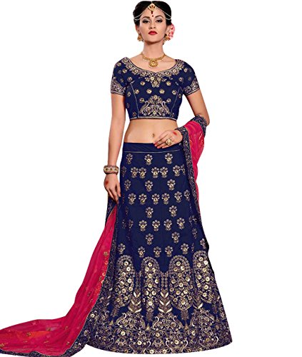 Indian Ethnicwear Bollywood Pakistani Wedding Dark Blue Coloured Lehenga Un-stitched