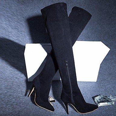 Sanmulyh Femmes Chaussures Flocage Mode Hiver Bottes Bottes Talon Stiletto Pointu Sur Les Genoux Bottes Pour Casual Noir Bourgogne Noir