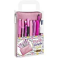 BIC Set rosa y morado – 1 estuche, 2 bolígrafos de bola/1 bolígrafo de gel borrable/1 lápiz de grafito con goma de borrar/1 rotulador de escritura/3 marcadores permanentes/1 lápiz mecánico