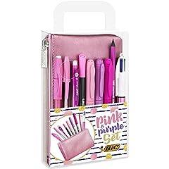 Idea Regalo - BIC Pink & Purple Set - 1 Astuccio, 2 Penne a Sfera/1 Penna Correttore Gel/1 Matita Grafite con Gomma/1 Pennarello da Scrittura/3 Indelebili/1 Matita Meccanica