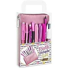 BIC Pink & Purple Set - 1 Pencil Case, 2 Ball Pens/1 Erasable Gel Pen/1 Graphite Pencil with Eraser/1 Writing Felt Pen/3 Permanent Markers/1 Mechanical Pencil