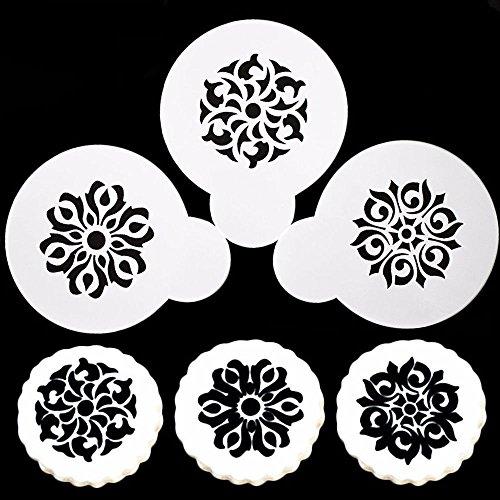 Set 3Schablonen Blume Maske Dekoration Kaffee Cappuccino Milch Muffin (Blume Maske)