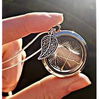 Sterlingsilber kette Blatt Pusteblumen Medaillon Halskette - Miniatur Löwenzahn schwimmende Medaillon Anhänger Geschenk für Tochter, Schwester, Mutter oder Freund