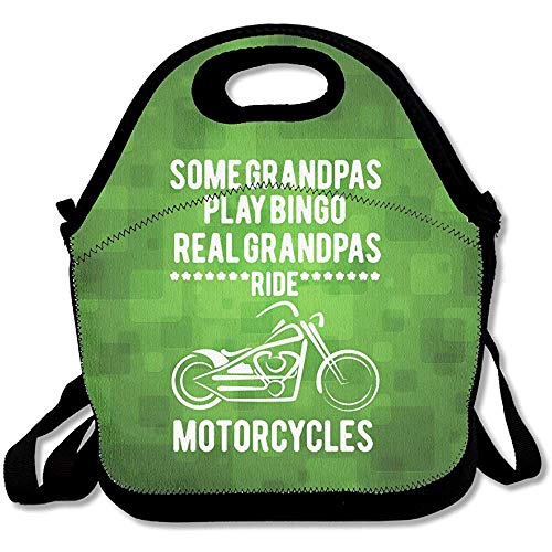 Some Grandpa\'s Play Bingo Real Grandpa\'s Ride Motorcycles Large & Thick Tote Lunch Bags With Containers Lunch Bag For Men Women Kids Enjoy You Lunch