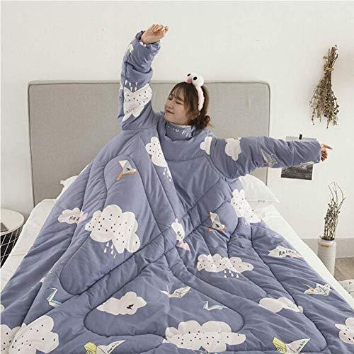 soundwinds Decke mit Ärmeln tragbare Decke, Dicke warme Decke, waschbar, Baumwolle, Wickeldecke für Erwachsene, Damen, Herren für Zuhause und Büro im Winter, 150x200cm-b,