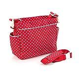 PRDX Sac à main multifonctionnel sac à langer sac en toile grand volume sac à bandoulière sac à bandoulière unique pour bébé et maman , Red