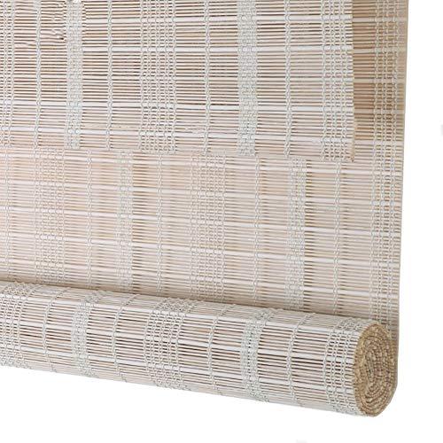 Bambusrollo Raffrollos weißer Bambusvorhang Roll-Up-Vorhang, Sonnenschutz UV-Sichtschutzrollo, Winddichter Staubschutz (größe : 130×175cm)