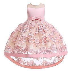 Yanhoo Mädchen Kinder Mädchen Ärmellos Bestickte Spitze Spitze Geburtstag Hochzeit Kleid Bogen Gürtel Hohe Und Niedrige Blume Kleid Brautjungfer Kleid Abendkleid