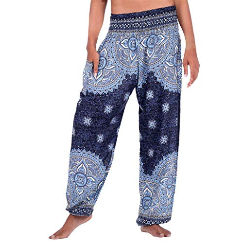 RYTEJFES Pantalones Cintura Alta Mujere Ancho Casuales Estampado Fluidos Pierna Leggings EláStico Pantalones HaréN De La India Danza Yoga Hippie impresión Playa Boho Pantalon
