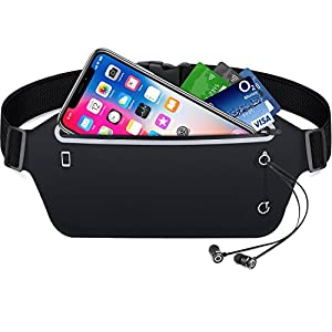 Running Belt,Gritin Waist Pack Fitness Belt W Headphone Hole - Soft Sweat-proof Fabric and Adjustable Elastic Strap Perfect Fit for Waist Curve - Super Comfortable and Convenient for Running and Other Outdoors