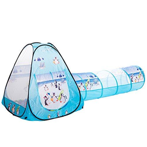 aussergewoehnlich® Sommer Pinguine Tunnel Bällebad pop-up Zelt mit 150 bunten Bällen