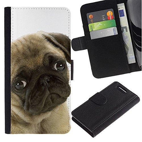 Sindrome depressiva stagionale, motivo: cane carlino con occhi per cani e animali domestici, con fessure per carte di credito e supporto a portafoglio in pelle PU, Cover protettiva per Sony Xperia Z1 Compact
