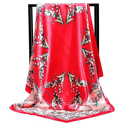 ERQINGWJ Quadratischer Schal Mode Frauen Weichen Satin Schal Lily of The Valley Printed Square Halstücher 90Cm Geschenke