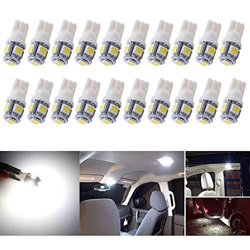 Paquet de 20 T10 W5W 194 168 5-SMD 5050 Voiture Lampe, 24V Lampes D'intérieur, Feu De Stationnement, Voiture Lampes De Lecture De Plaques, D'immatriculation Lumières Lampes Remplacement (Blanc)
