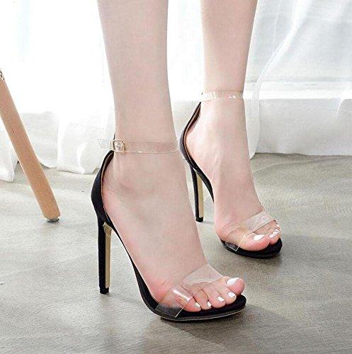 GLTER Cinturino di donne pompa i pattini Fan trasparente sandali di plastica con tacco Fashion Catwalk partito Incontri Scarpe Charming Scarpette Black