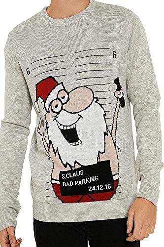 Threadbare Erwachsene Neuheit Weihnachten Santa Penguin Festliche Strickpullover - Betrunken Gefängnis Santa - Grau Marl, XXL