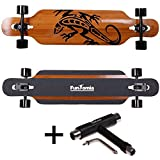 FunTomia® Longboard Skateboard Drop Through Cruiser Komplettboard mit Mach1® High Speed Kugellager T-Tool (Modell Freerider Bambus Fiberglas - Farbe Gecko + T-Tool)