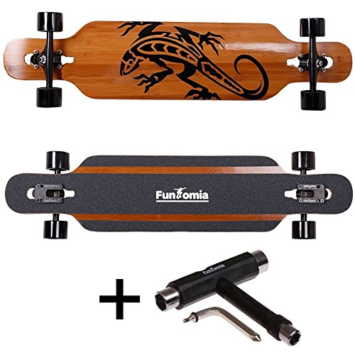 FunTomia® Longboard Skateboard Drop Through Cruiser Komplettboard mit Mach1® ABEC-11 High Speed Kugellager T-Tool (Modell Freerider2 Bambus Fiberglas - Farbe Gecko + T-Tool)