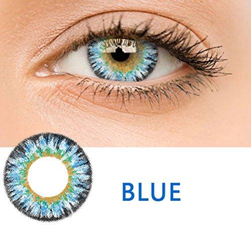 Edited Farbige Multicolor Cute Charm und Attraktive Kontaktlinsen 1 Stück Ohne Stärk – Jahreslinsen - Durchmesser: 14.50mm - Verschiedene Farben - Krümmungsradius: 8.60° - Wassergehalt: 38% - Angenehm zu Tragen (Blau)