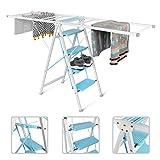 Todeco - Laundry Ladder, Multifunctional Household Ladder - Tamaño desplegado (Tendedero): 123 x 118 x 50 cm - Tamaño desplegado (Escala): 105 x 73 x