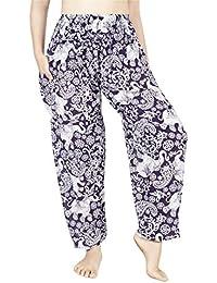Lofbaz Mujer Pantalones Harem con Cintura Calada de Rayon Smoked Flowy Hippie