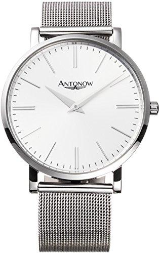 Antonow - 40mm Luxus Piloten Flieger Armbanduhr A2- Michail Silber für Herren aus Edelstahl mit Milanaise Armband und Glas mit Saphir Beschichtung - Antonov