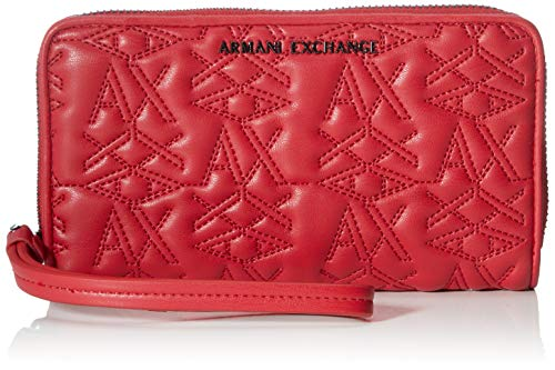 Armani Exchange Damen Zip-Around Wristlet Wallet Geldbörse, Rot (Red), 10x10x10 cm