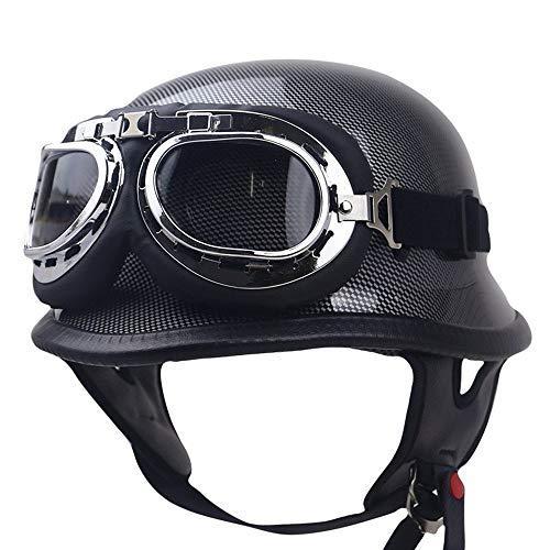 Moto Helm - Stahlverteidigungskraft Vespa-Roller Jet Boje Halbhelm Helm Stahlverteidigungskraft Cropper Retro Fahrradhelm Fahrradhelm, Brille inklusive,carbonfiber,M