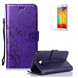 J5 Case,Samsung Galaxy J5 Case.Funyye Elegant Premium Folio PU Leather Wallet Magnetic Flip Cover with [Wrist Strap] and [Credit Card Holder Slots] Stand Function Book Type Stylish Butterfly Leaf Vines Designs Full Protection Holster Case Cover Skin Shell for Samsung Galaxy J5 (2017 Model)-Purple