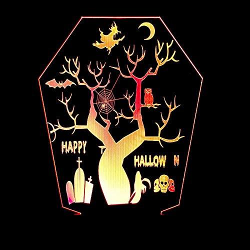 3D Licht Optisch Illusion Lampe Led Happy Halloween-Baum 7 Farbwech mit Acryl Flat & ABS Base USB-Ladegerät ändern Berühren Spielzeug Beste für Kinder zum Geschenk fürs Wohnzimmer Nachtlicht