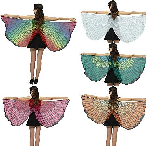 Damen Schmetterling Kostüm Faschingkostüme Schmetterlingsflügel Transparent Schal Federflügel Nymphe Pixie Poncho Umhang Erwachsene Cosplay Kostüm Karneval Fasching 170x72cm A168