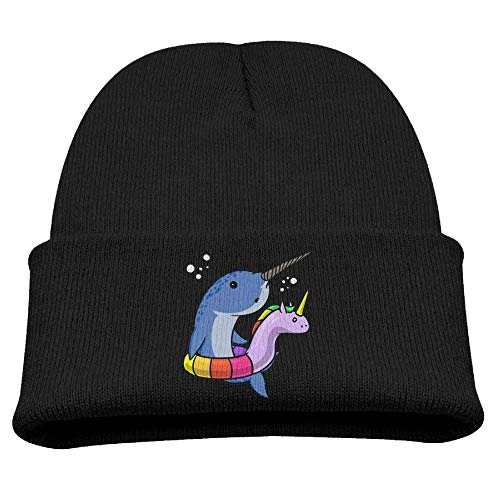 WYICPLO Fashion Funny Cap Hat Funny Narwhal with Unicorn Float Kids Heather Beanie Black