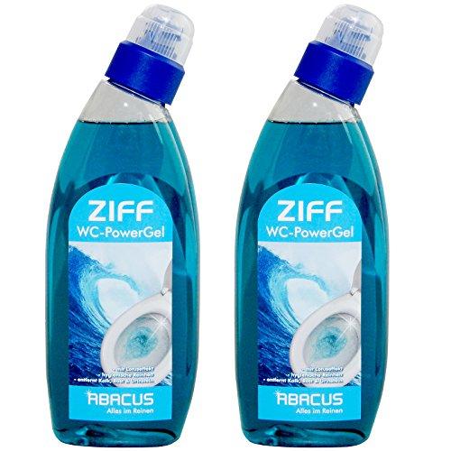 ZIFF SET (7271) - 2x 750 ml WC-PowerGel - Entkalker Toilettenreiniger Toiletten WC-Reiniger Urinsteinlöser Rostentferner Kalkentferner Urinsteinentferner Abperleffekt Urinalreiniger - ABACUS