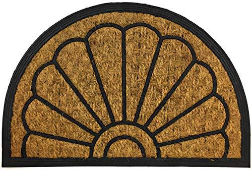 Home Line Fußmatte aus Gummi und Kokosfaser 40 x 60 cm - Türvorleger für Innen- und Außenbereich - Fußabtreter Türmatte Schmutzabstreifer Sauberlaufmatte (Halbrund Mod. Vanessa)