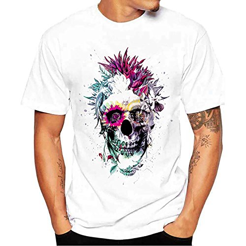 CICIYONER Verano Hombres Camisetas, Hombres Chico Talla Grande Estampado De Calavera Camisetas Manga Corta De Algodón (Blanco, L)
