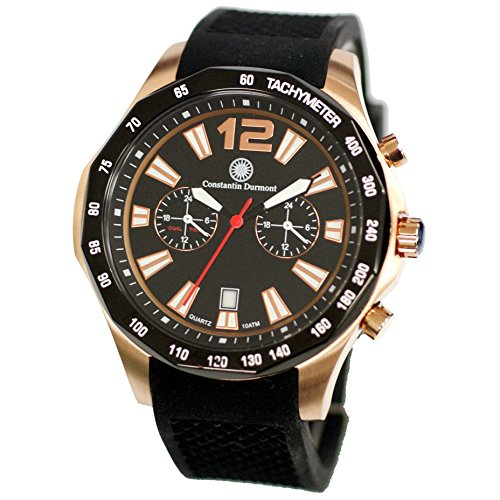 Constantin Durmont Men's Quartz Watch Analogue Display and Rubber Strap CD-Bust-QZ-RB-RGIP-BK