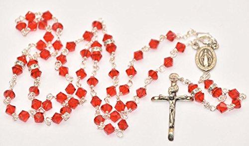 warovski Kristall rot Rosenkranz Perlen und Lourdes Gebet Karte ()