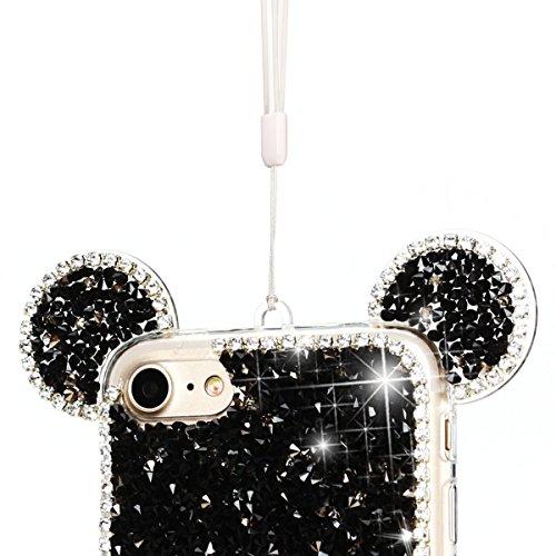Etui iPhone 7, SpiritSun Bling Bling Souple Etui Coque de Protection avec Beau Motif Oreilles pour iPhone 7 (4.7 pouces) Glitter Diamant Flexible Silicone Housse Etui Anti-Rayures Anti Choc Protection Noir