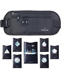 Riñonera de viaje – Riñonera de viaje tipo gran premium con bolsillo oculto de seguridad para tarjetas y pasaportes – Proteja su metálico y objetos de valor +7 fundas bloqueadoras de RFID