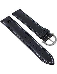 Maurice Lacroix Uhrenarmband 20mm | Galant XL - mattes Leder, gepolstert - 2/912S, Farbe:schwarz/grau