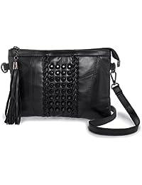 97f51705b4911 Kleine Umhängetasche Handtasche für Damen - LaRechor Elegant Clutch Schwarz  Klein Abendtasche Schultertasche mit Nieten…