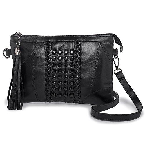 LaRechor Damen Kleine Handtasche - Quaste Schwarz Clutch Tasche - Nieten Mini Umhängetasche - Retro Abendtasche mit 2 Gurt -Weich Leder