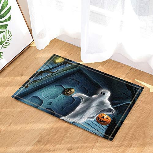 OqgsMindyzk Porte Bleue sur crâne d'horreur Marron Jaune bocage Blanc Tenant Une tête de Citrouille Jaune Tapis de Salle de Bain Absorbant Doux Protection de l'environnement Antidérapa