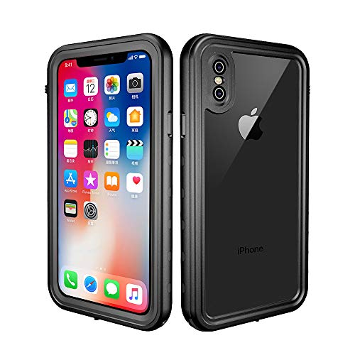 redpepper iPhone X/XS Funda Sumergible, Carcasa Impermeable [Antigolpes] Protección 360º [Certificado IP68] Resistente al Agua [Funda Extrema] Compatible con Carga Inalámbrica - Negro