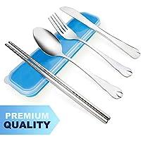 AckMond 3 piezas de viaje de acero inoxidable portátil, cubiertos de camping Set (azul)