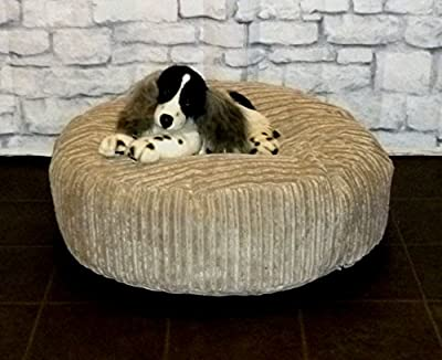 "Zippy Round Bean Bag Pet Dog Bed - 30"" diameter - Beige Jumbo Cord Fabric - Beanbags"